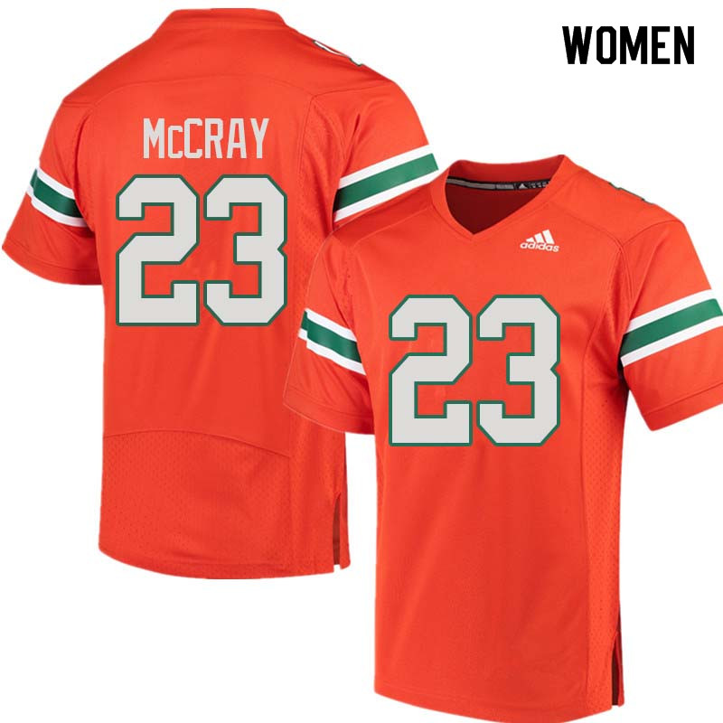 Women Miami Hurricanes #23 Terry McCray College Football Jerseys Sale-Orange